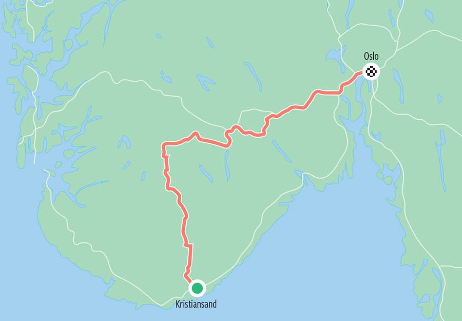Landevei-Kristiansand-Oslo-Kart