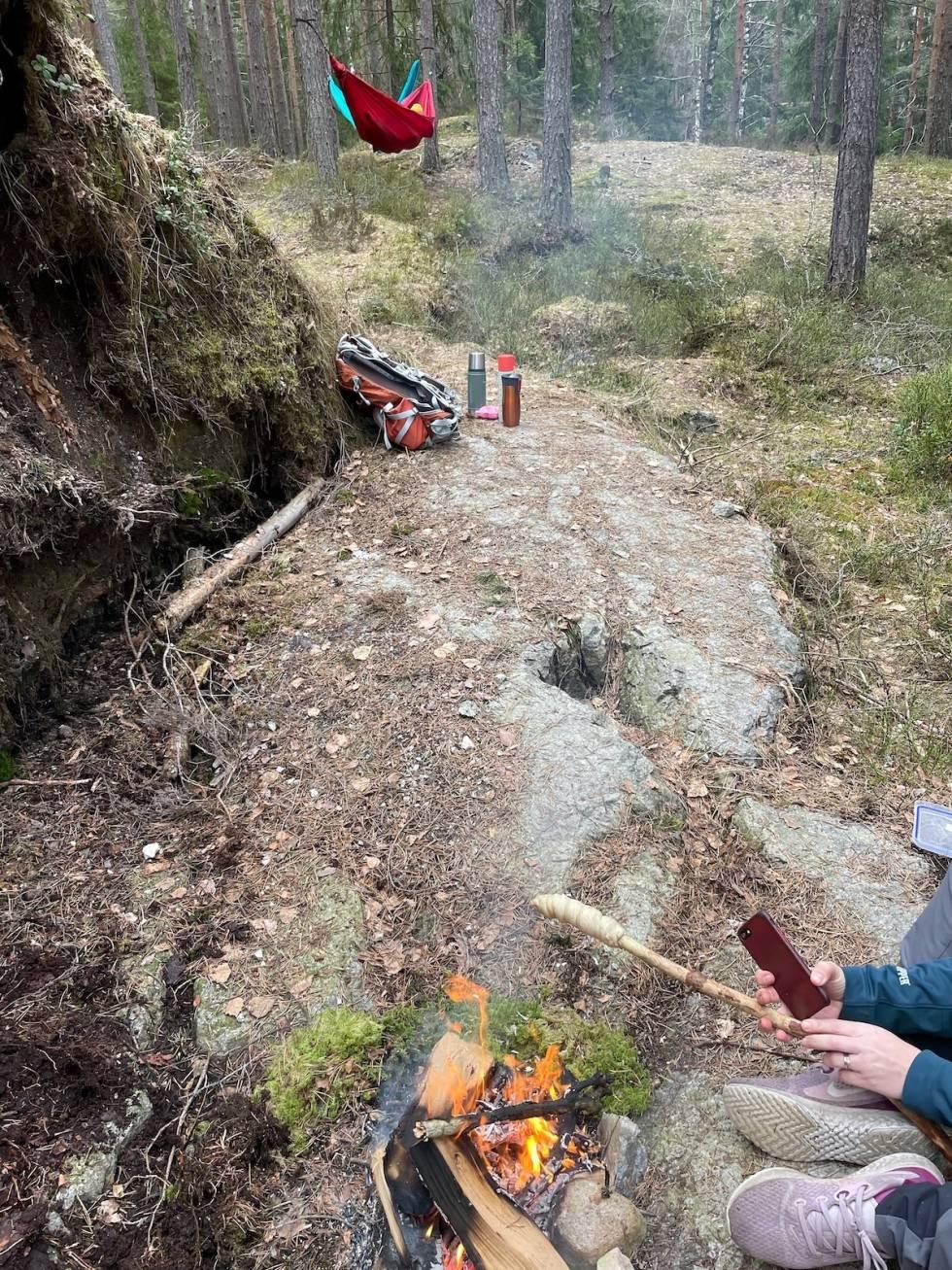 TØRT OG FINT: Nå er det glimrende forhold for både sykling og rasting i skogen rundt Lathusåsen. Foto: Andreas Christensen
