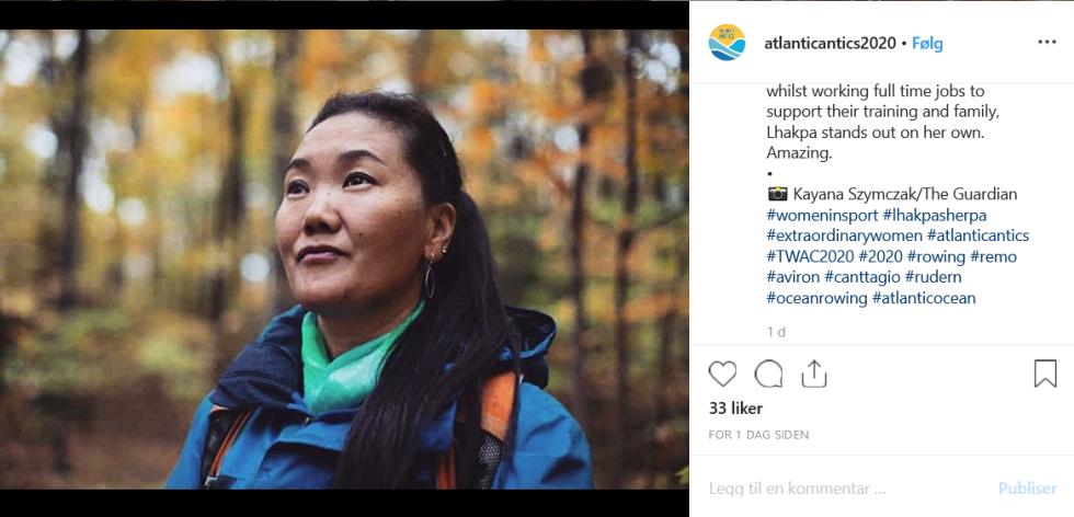 AMBISIØS: Lhakpa Sherpa drømmer om en tiende bestigning av verdens høyeste fjell. Skjermdump fra Instagram.