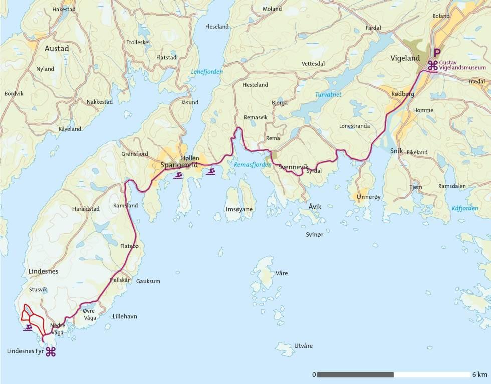 Lindesnes-på-sykkel-Kart