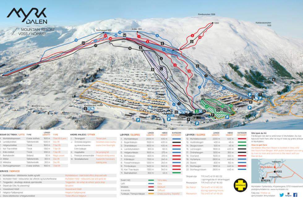 Myrkdalen løypekart fri flyt guide freeride ski alpint snowboard voss myrk mrykdal