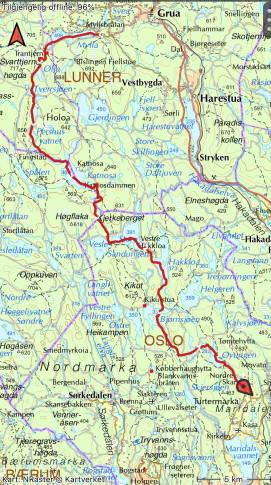 nordmarka på langs kart