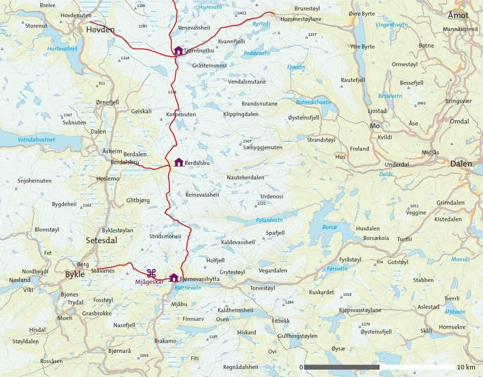 Nordøstlige-Setesdal-Kart