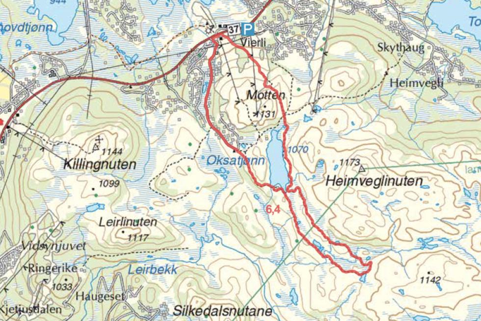 Vierli Oksatjønn Turguide rauland Telemark kart