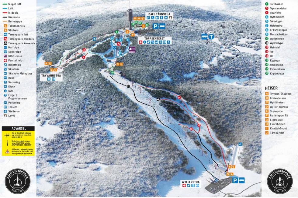 OSlo vinterpark snowboard ski løypekart pistemap pistenkarte guide ski fri flyt