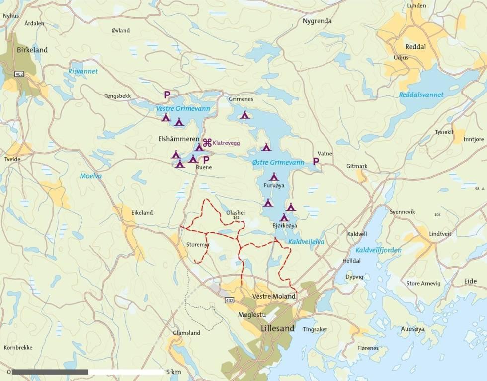 Padling-på-Grimevannene-Kart