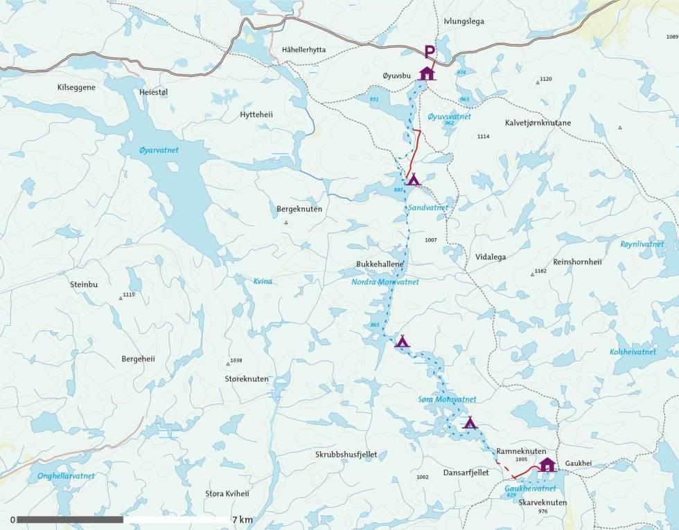 Padling-på-Monsvatnet-Kart