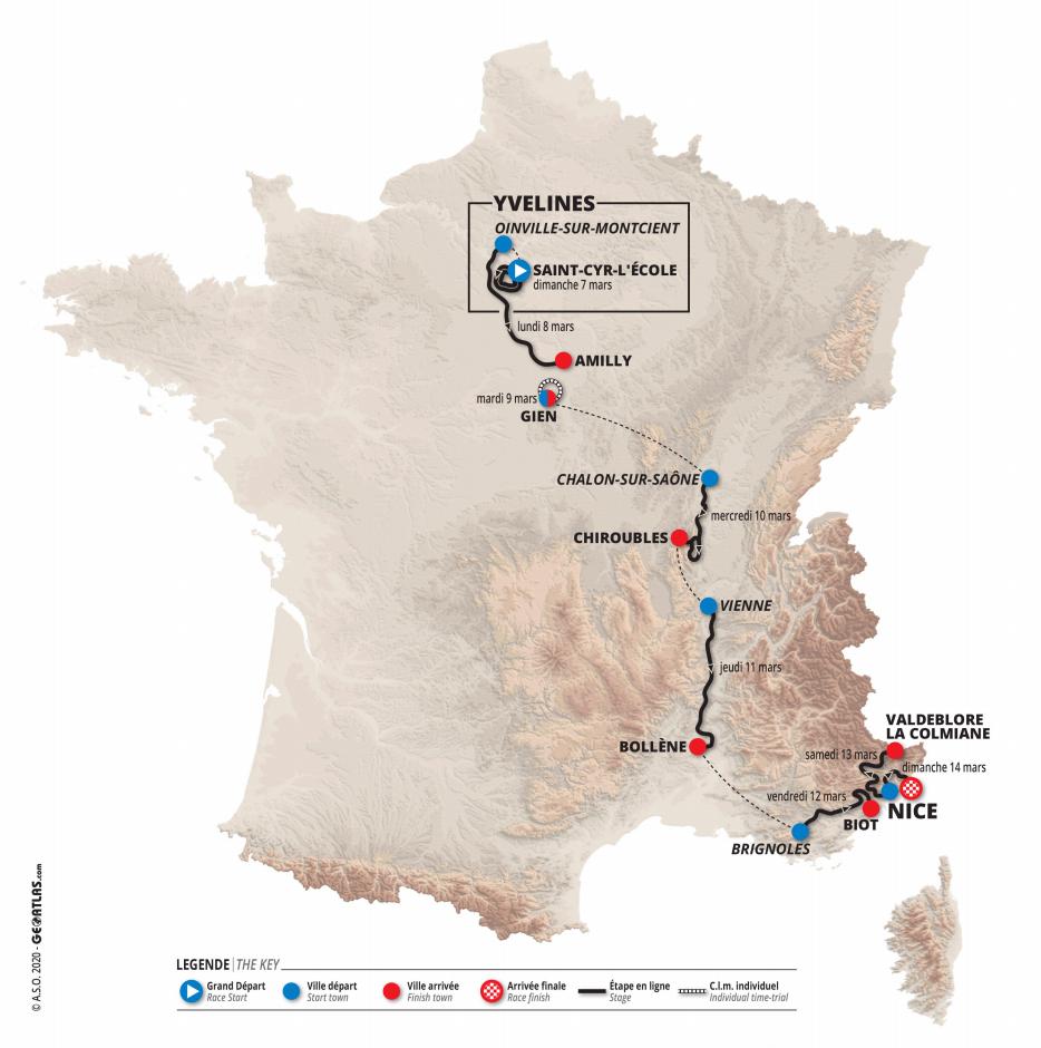 oversiktskart paris-nice 2021