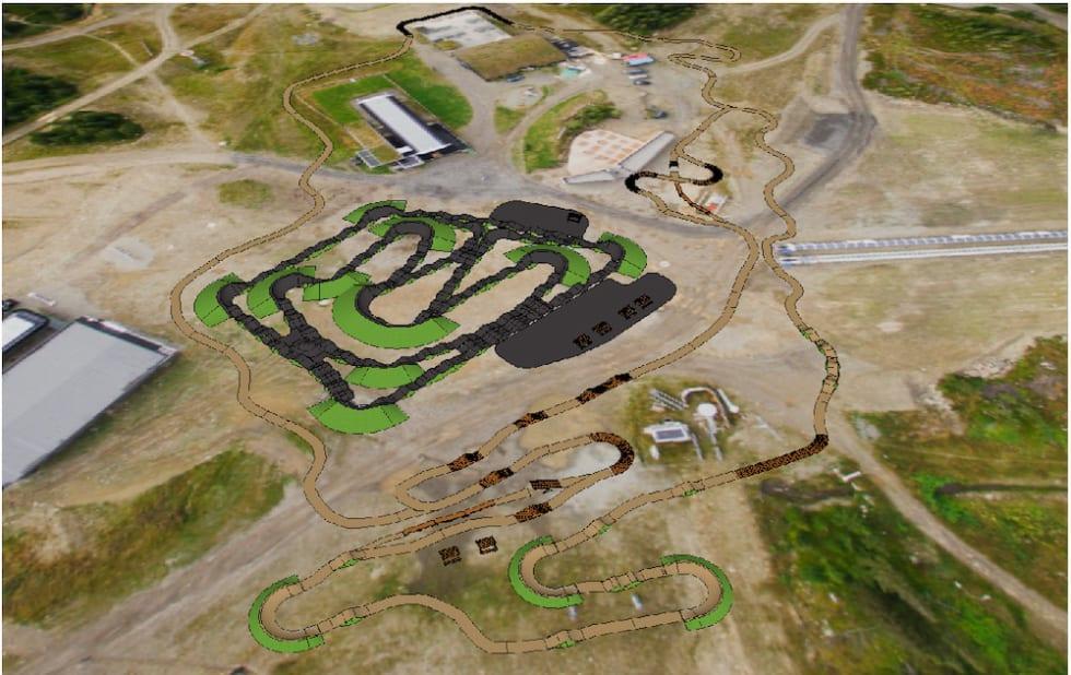 Sksse over pump track og sykkelbane på Mosetertopppen/Hafjell Gondoltoppen. Illustrasjon: Pathfinder Trail Designs