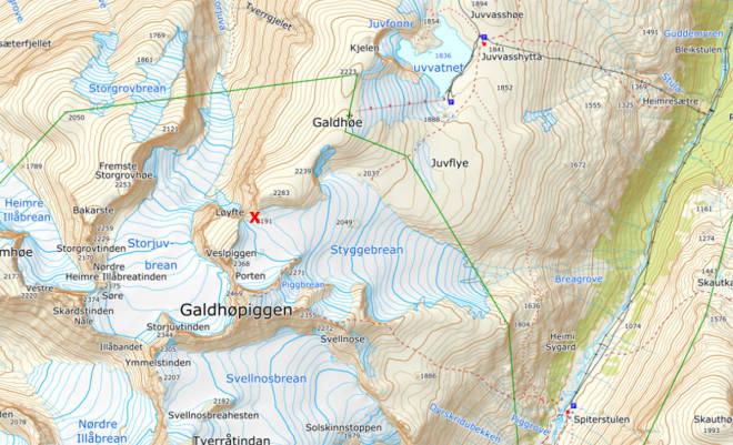 Redningsaksjon Galdhøpiggen Jotunheimen