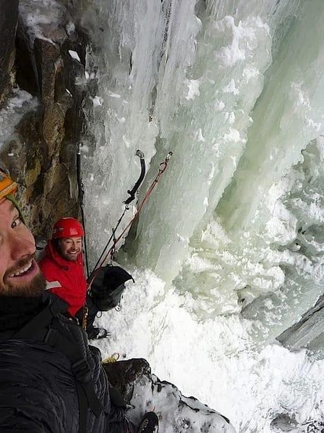 Dag Hagen og Erik Neergaard på siste standplass på Sabotørfossen. Foto: Dag Hagen