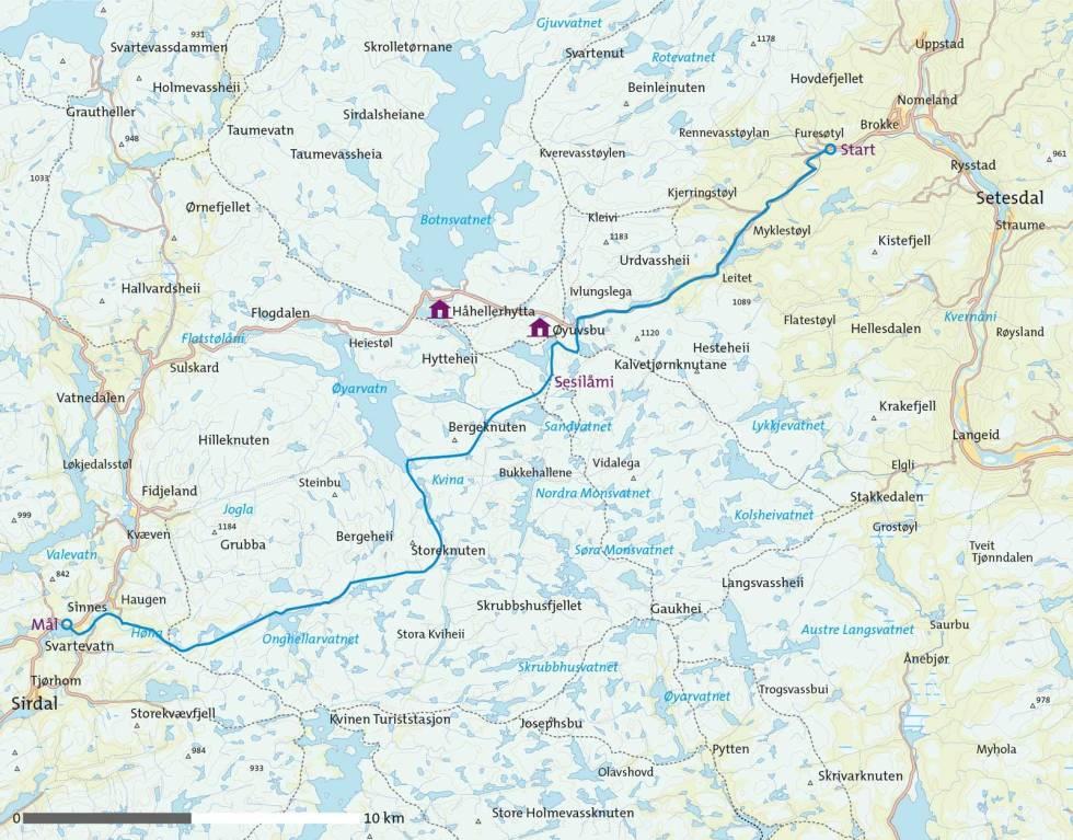 Sesilåmi-På-ski-over-Setesdal-Vesthei-Kart