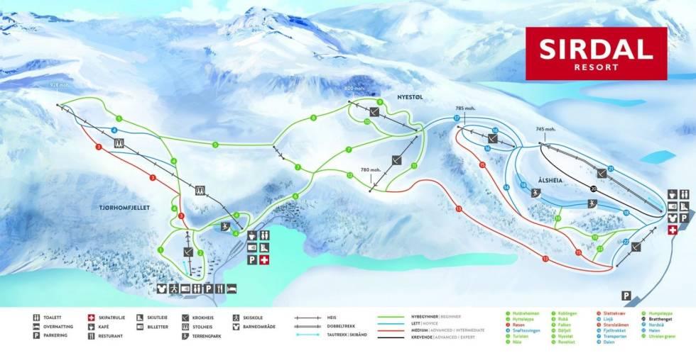 Sirdal skisenter resort alpin ski snowboard skistar guide freeride