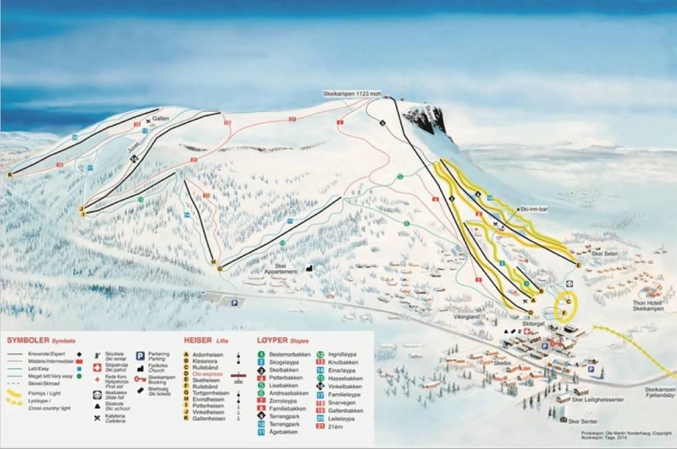Skeikampen løypekart fri flyt alpint ski