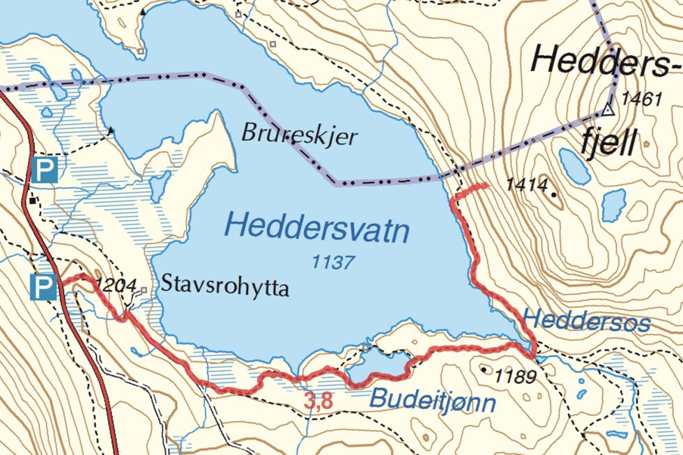Hulderhola Heddersfjell turguide Telemark kart