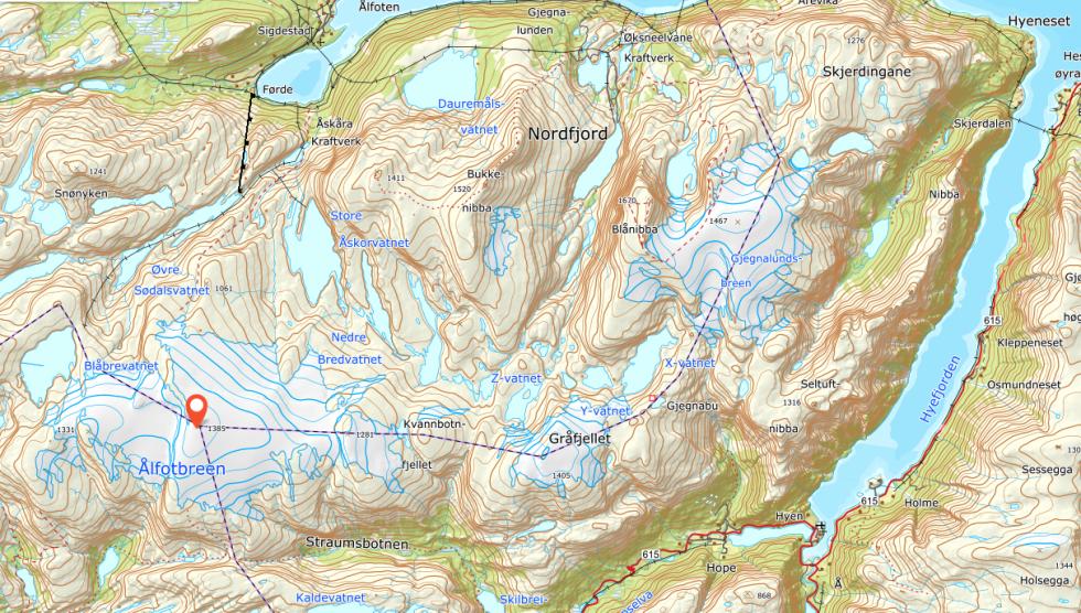 Ålfotbreen kart gjegnabu