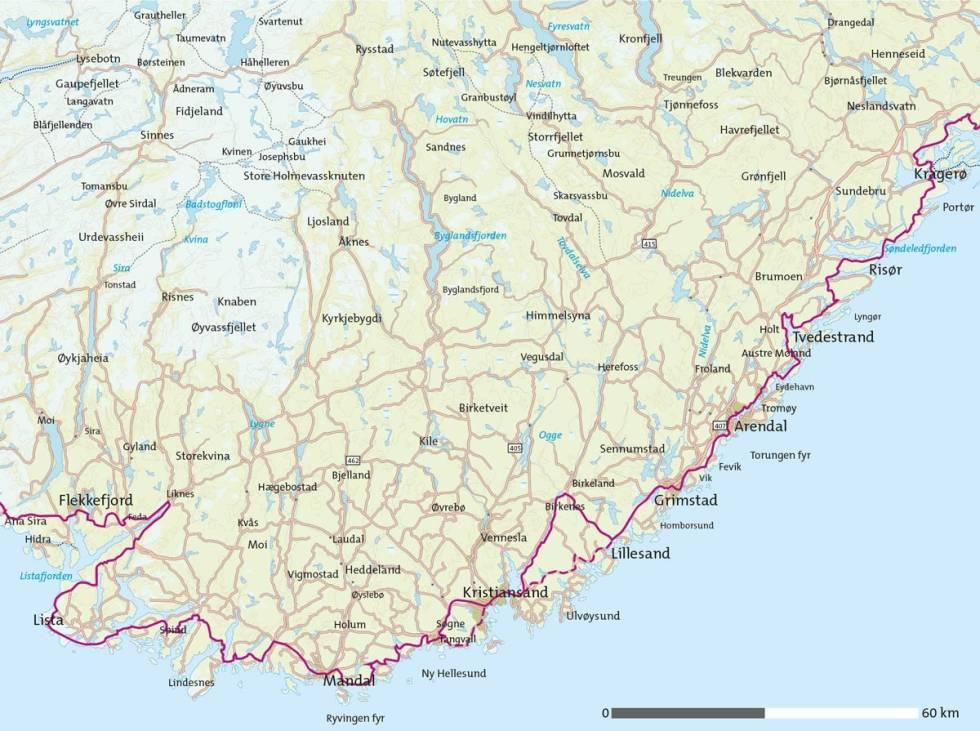 Sørlandet-på-sykkel-Kart