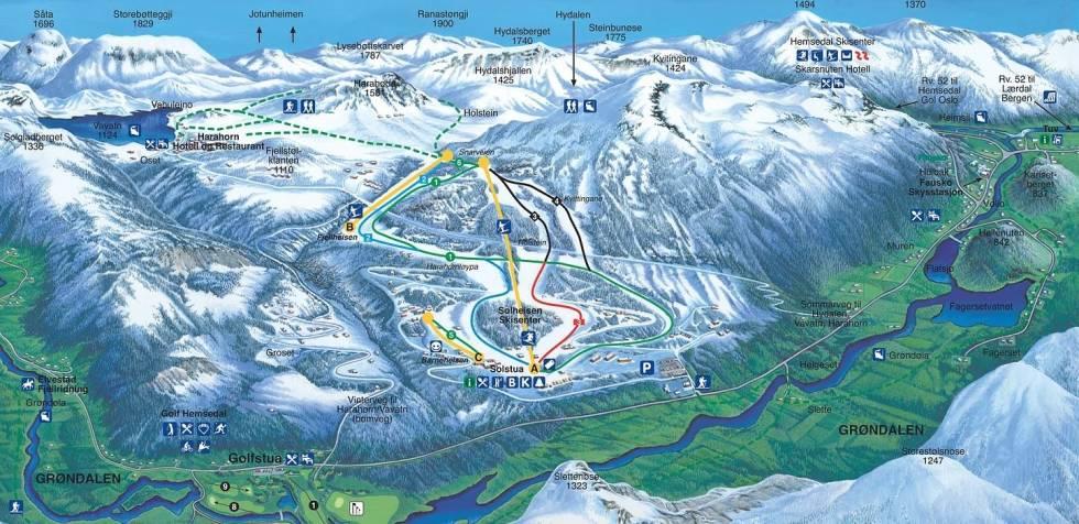 Solheisen skisenter grøndalen hemsedal skistar harahorn Tuv alpint snowboard fri flyt guide snowboard ski freeride