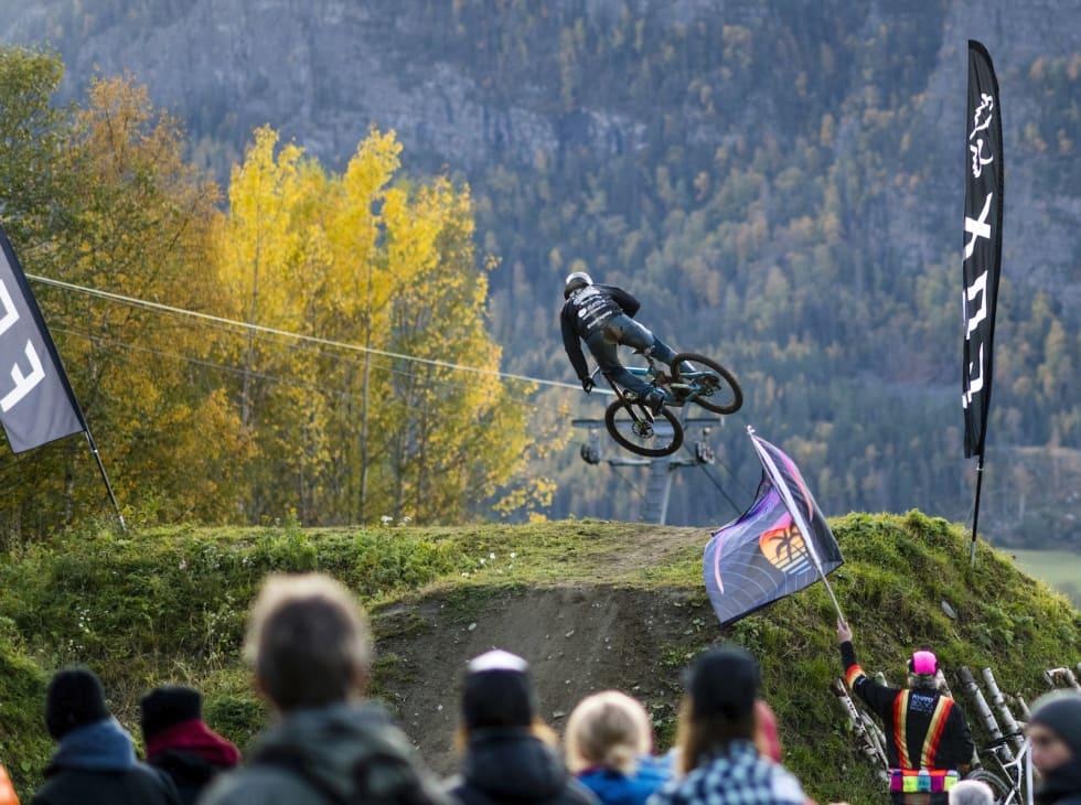 Sondre Goska under Whip Off på lørdag. Foto: Gisle Johnsen/Hafjell Bike Park