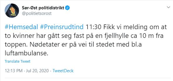 politiet twitter melding