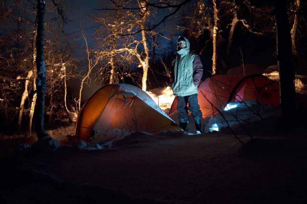 TELTET: Slik så teltplassen ut om natta.