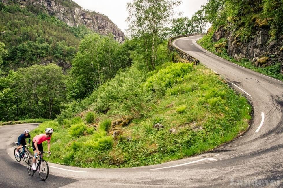 Landevei sykler Stalheimskleiva som er Norges bratteste bakke