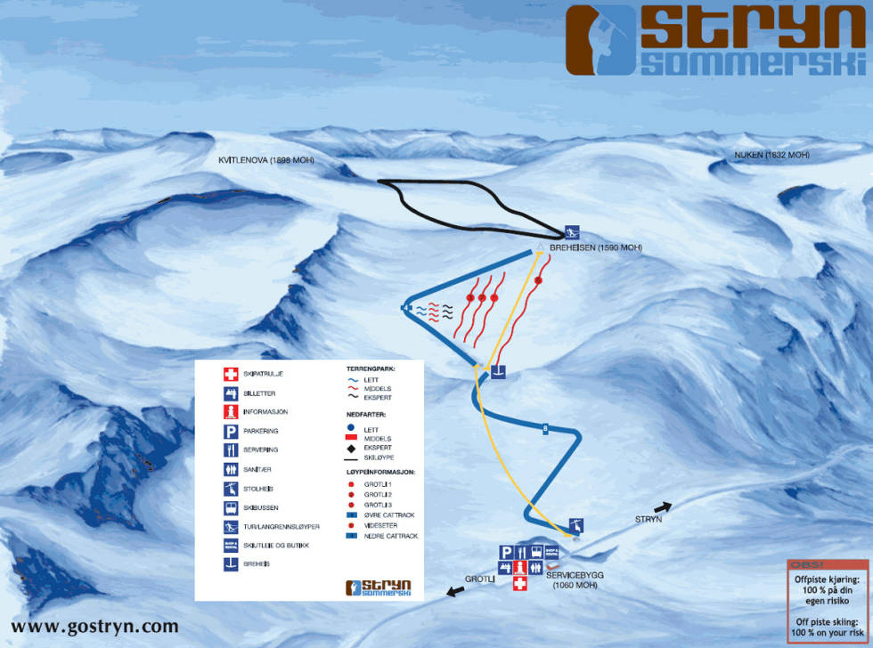 stryn sommerski alpint snowboard ski sommerskisenter strynefjellet