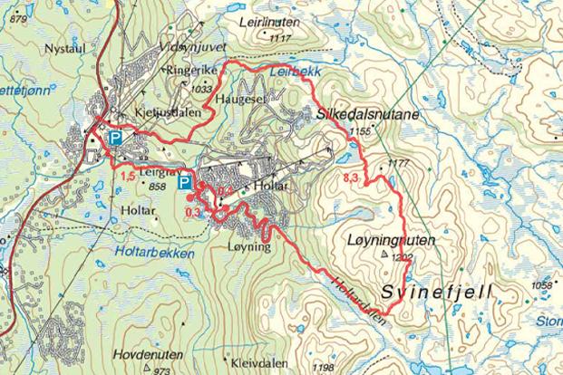 Holtardalen svinefjell turguide Rauland kart