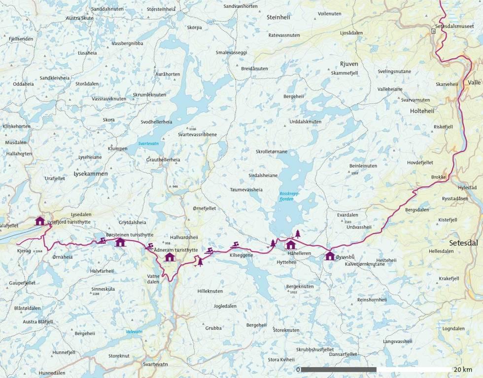 Sykkel-fra-Setesdal-til-Lysefjorden-Kart