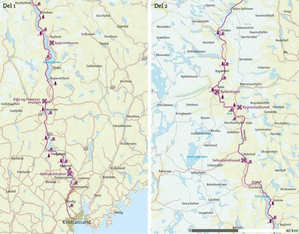 Sykkel-gjennom-Setesdal-Kart