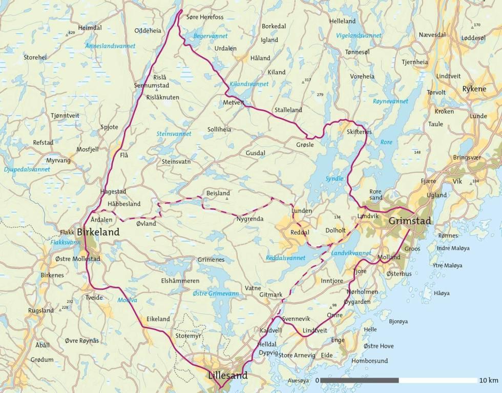 Sykkel-i-Grimstadområdet-Kart