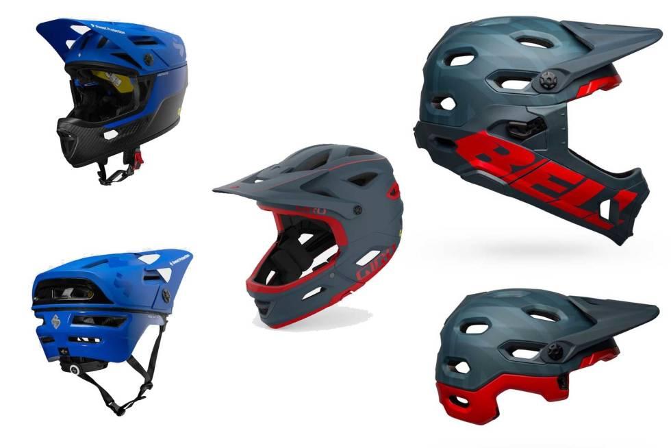 ENDUROHJELM: Sweet Arbitrator MIPS, Giro Switchblade MIPS og Bell Super DH Spherical er alle hjelmer som er godt egnet til endurosykling med avtakbar hakebeskytter.