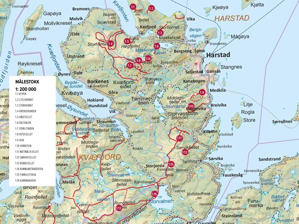 Topptur-rundt-Harstad-Kart