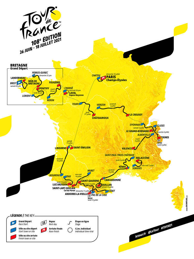 tour de france 2021 kart etapper