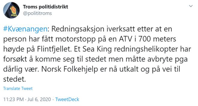 politi twitter utemagasinet redningsaksjon