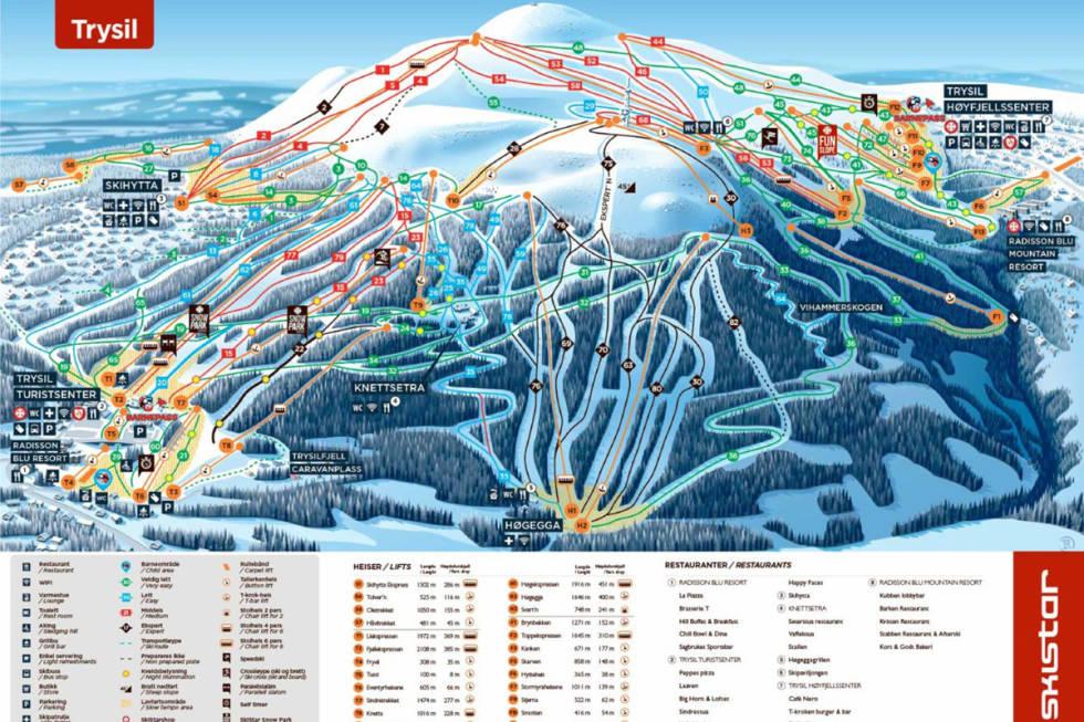 Løypekart piste map alpint ski snowboard trysil freeride info fri flyt