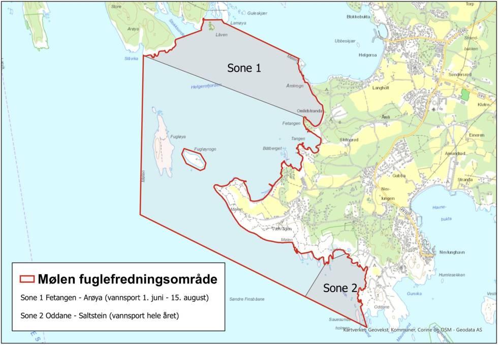 Kart over verneområdet og forvaltningssonene ved Saltstein og Mølen.