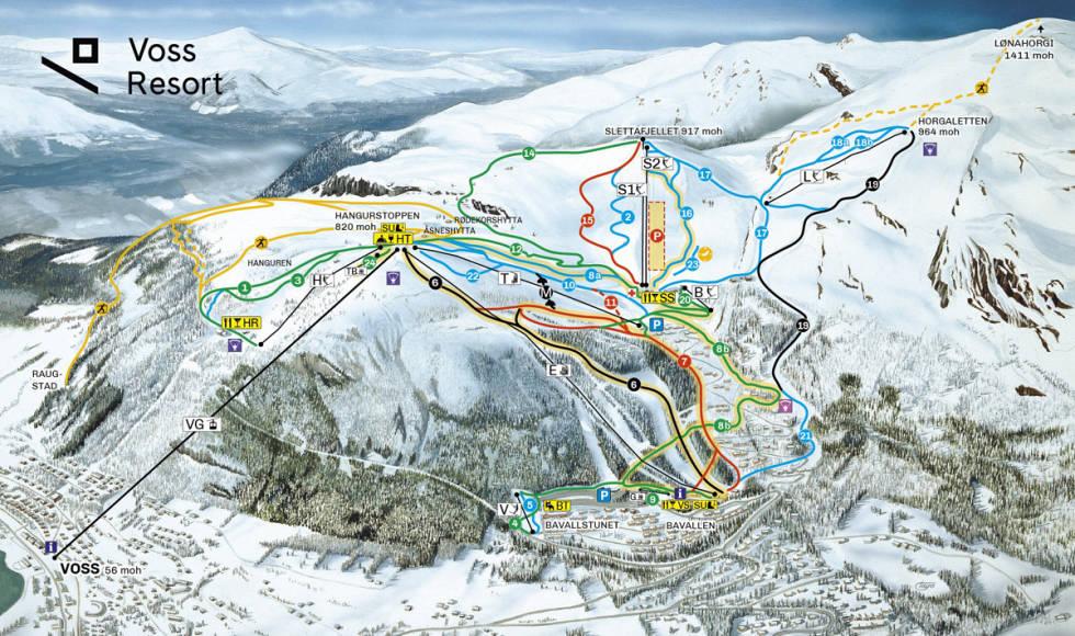 voss resort skiheisar løypekart alpin ski snowboard skistar guide freeride