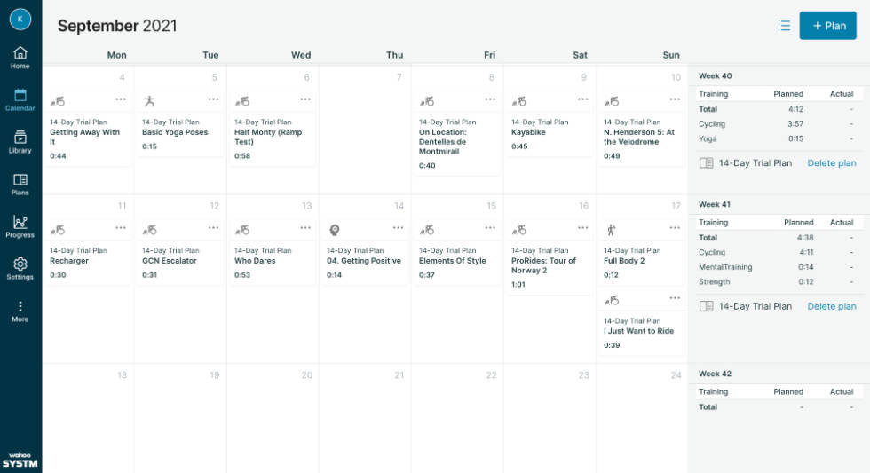 wahoo systm, kalender
