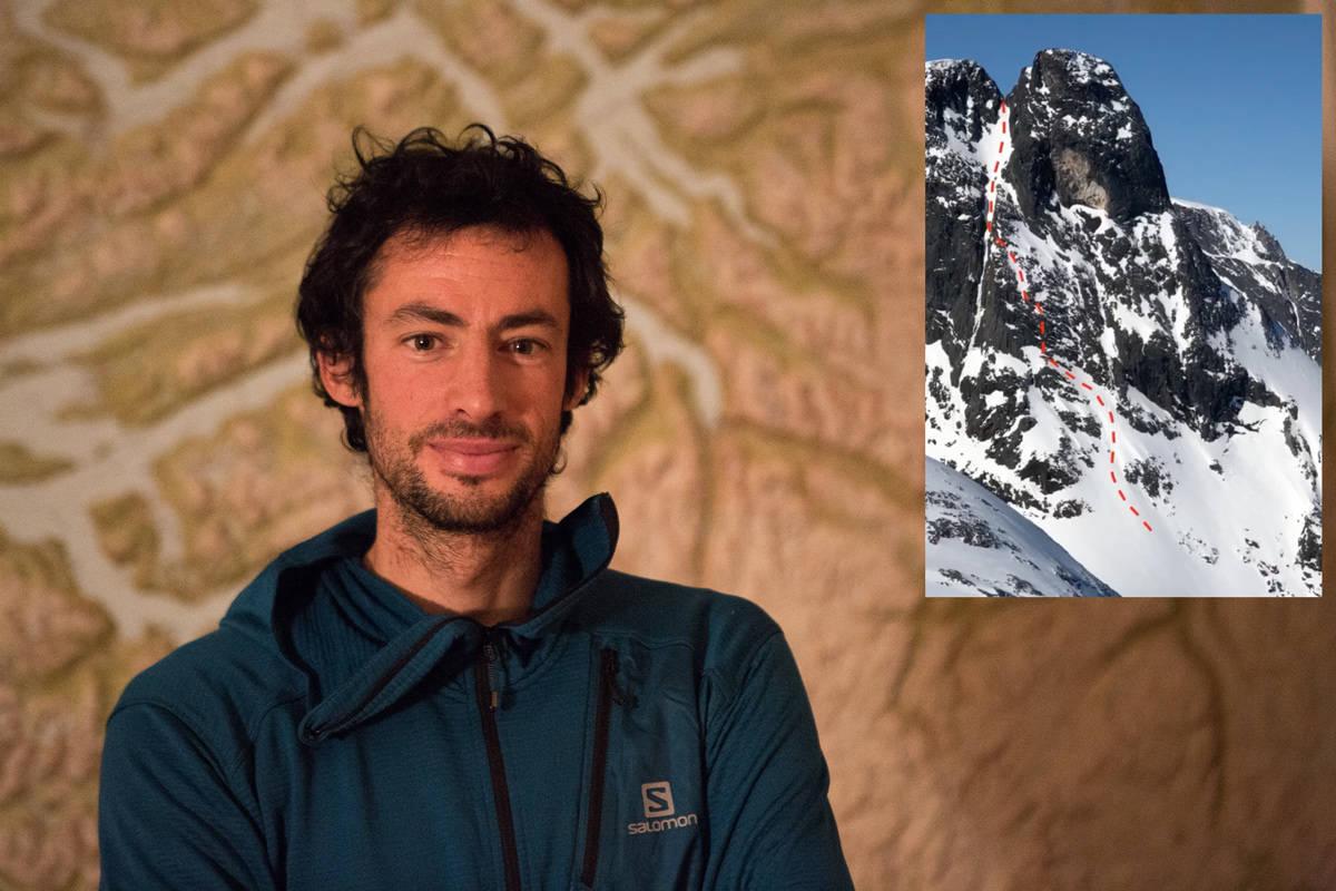 PÅ SKI I KLATRETERRENG: Kilian Jornet har kjørt ski ned Halls renne på Romsdalshorn. Foto: Tore Meirik/ Instagram
