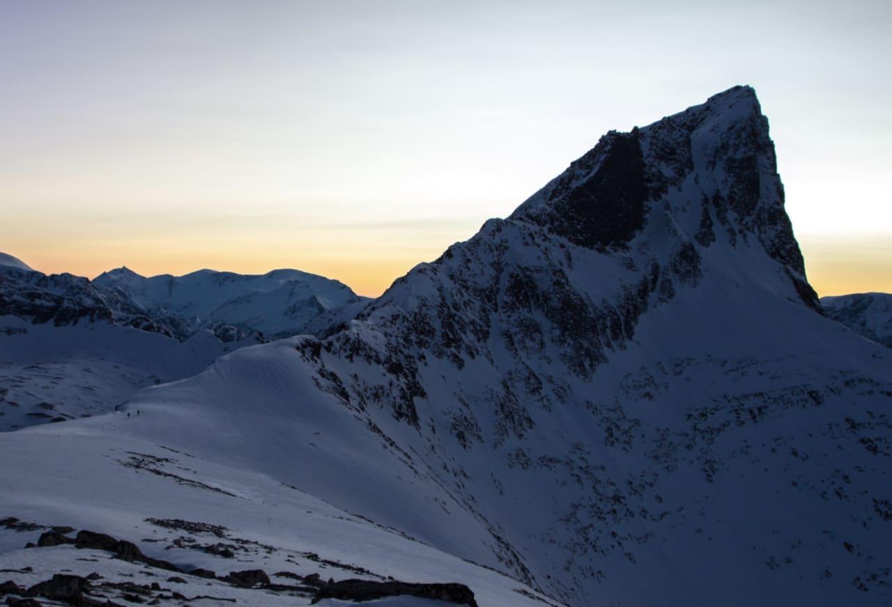 To maur i skumringa. På heimveg under Jakta etter bestigninga av Blåhornet. Foto: Ståle Johan Aklestad