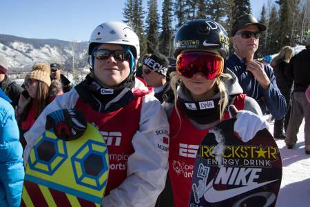 KJØRTE: Andre Berg og Silje Norendal kjørte boardercross sammen i X Games. Foto: Anders Holtet