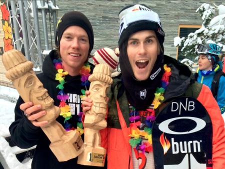 Ståle Sandbech tok førsteplass, mens Torstein Horgmo kom på tredjeplass. Foto: Snowboardforbundet
