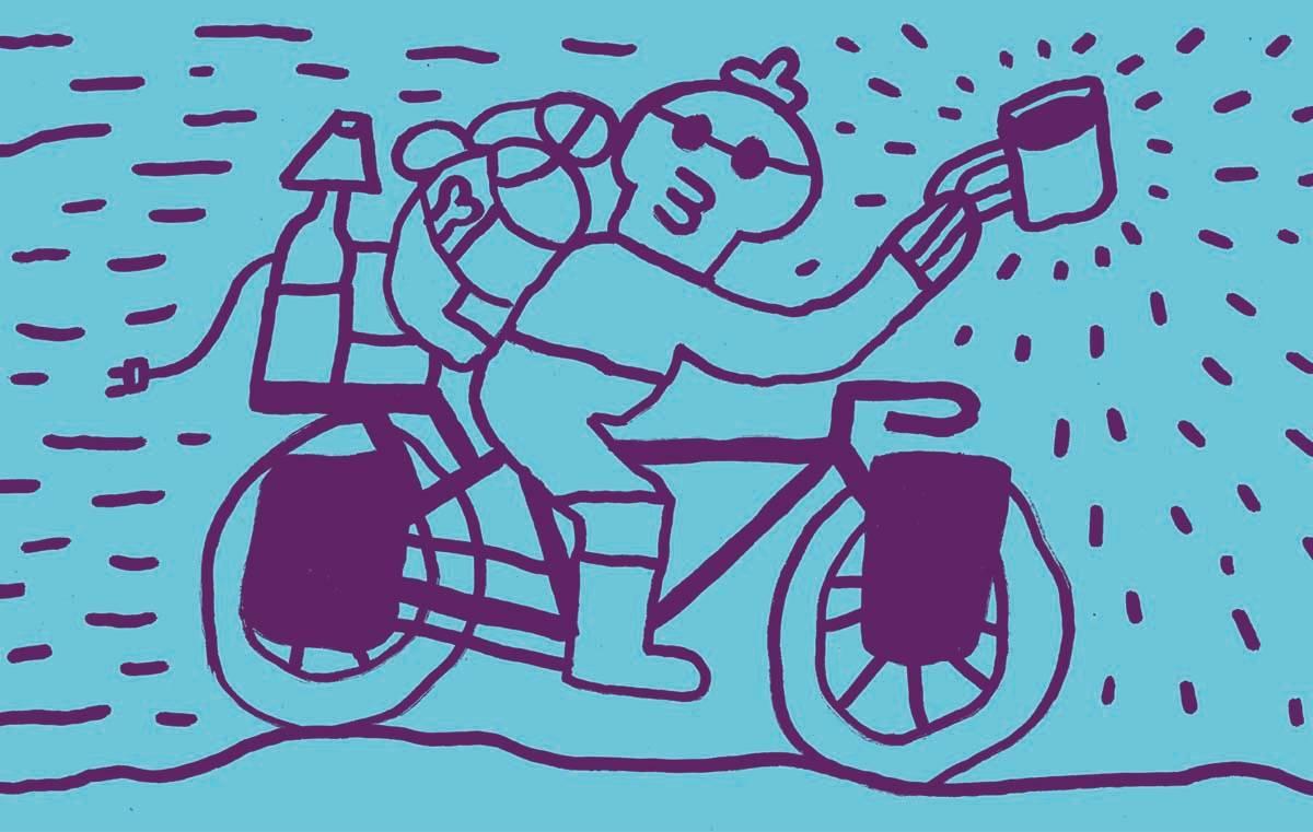 TOUR DE HANS: I sommer skal jeg se verden fra et sykkelsete. Illustrasjon: Petter Richardsen Nordhagen